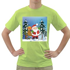 Funny Santa Claus In The Forrest Green T Shirt