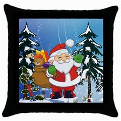 Funny Santa Claus In The Forrest Throw Pillow Cases (Black)