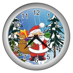 Funny Santa Claus In The Forrest Wall Clocks (Silver)