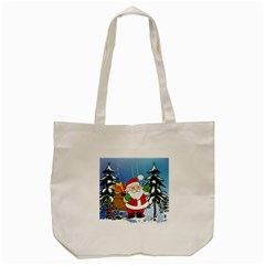 Funny Santa Claus In The Forrest Tote Bag (Cream)