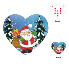 Funny Santa Claus In The Forrest Playing Cards (Heart)