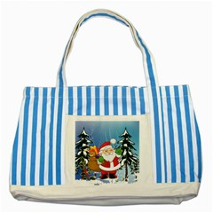 Funny Santa Claus In The Forrest Striped Blue Tote Bag