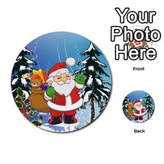 Funny Santa Claus In The Forrest Multi-purpose Cards (Round)