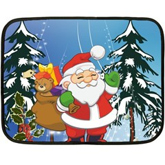 Funny Santa Claus In The Forrest Double Sided Fleece Blanket (Mini)