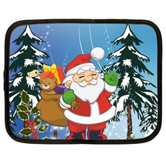 Funny Santa Claus In The Forrest Netbook Case (XXL)