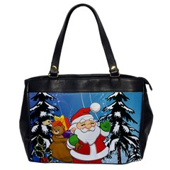 Funny Santa Claus In The Forrest Office Handbags
