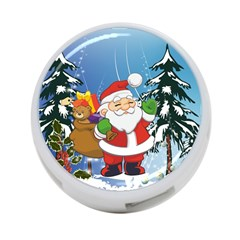 Funny Santa Claus In The Forrest 4 Port Usb Hub (two Sides)