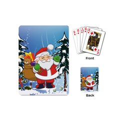 Funny Santa Claus In The Forrest Playing Cards (Mini)