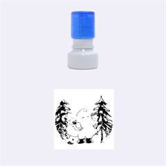 Funny Santa Claus In The Forrest Rubber Round Stamps (Small)