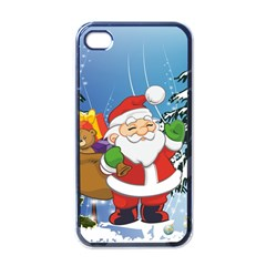 Funny Santa Claus In The Forrest Apple iPhone 4 Case (Black)