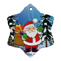 Funny Santa Claus In The Forrest Ornament (Snowflake)