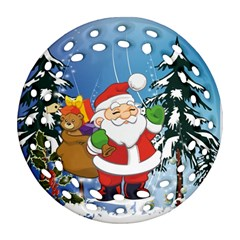 Funny Santa Claus In The Forrest Round Filigree Ornament (2Side)