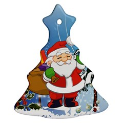 Funny Santa Claus In The Forrest Christmas Tree Ornament (2 Sides)
