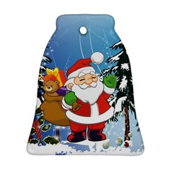 Funny Santa Claus In The Forrest Bell Ornament (2 Sides)