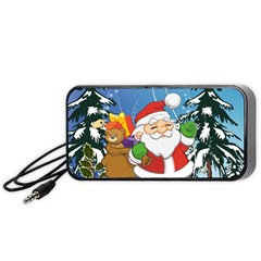 Funny Santa Claus In The Forrest Portable Speaker (Black)