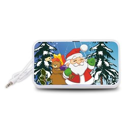 Funny Santa Claus In The Forrest Portable Speaker (White)