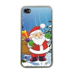 Funny Santa Claus In The Forrest Apple iPhone 4 Case (Clear)