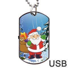 Funny Santa Claus In The Forrest Dog Tag USB Flash (One Side)