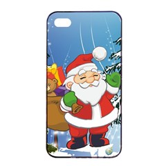 Funny Santa Claus In The Forrest Apple iPhone 4/4s Seamless Case (Black)