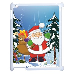 Funny Santa Claus In The Forrest Apple iPad 2 Case (White)
