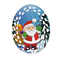 Funny Santa Claus In The Forrest Ornament (Oval Filigree)