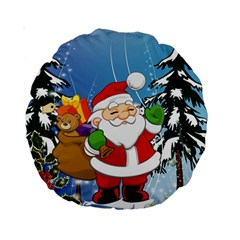 Funny Santa Claus In The Forrest Standard 15  Premium Round Cushions
