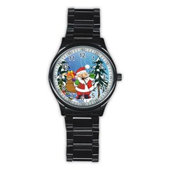 Funny Santa Claus In The Forrest Stainless Steel Round Watches