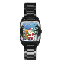 Funny Santa Claus In The Forrest Stainless Steel Barrel Watch