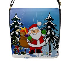 Funny Santa Claus In The Forrest Flap Messenger Bag (L)