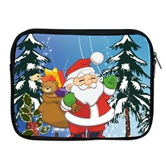 Funny Santa Claus In The Forrest Apple iPad 2/3/4 Zipper Cases