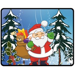 Funny Santa Claus In The Forrest Double Sided Fleece Blanket (medium)