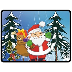 Funny Santa Claus In The Forrest Double Sided Fleece Blanket (Large)