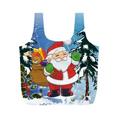 Funny Santa Claus In The Forrest Full Print Recycle Bags (m)