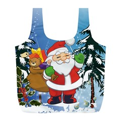Funny Santa Claus In The Forrest Full Print Recycle Bags (L)