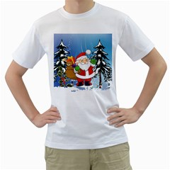 Funny Santa Claus In The Forrest Men s T Shirt (white)