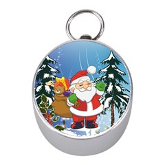 Funny Santa Claus In The Forrest Mini Silver Compasses