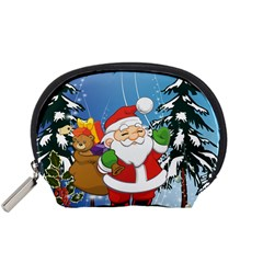 Funny Santa Claus In The Forrest Accessory Pouches (Small)