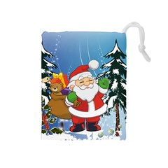 Funny Santa Claus In The Forrest Drawstring Pouches (Medium)