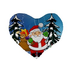 Funny Santa Claus In The Forrest Standard 16  Premium Flano Heart Shape Cushions