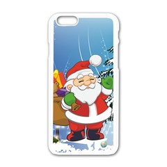 Funny Santa Claus In The Forrest Apple iPhone 6/6S White Enamel Case
