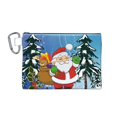 Funny Santa Claus In The Forrest Canvas Cosmetic Bag (M)