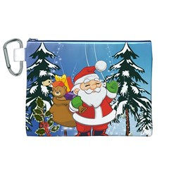 Funny Santa Claus In The Forrest Canvas Cosmetic Bag (XL)