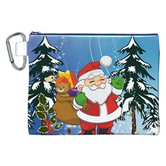 Funny Santa Claus In The Forrest Canvas Cosmetic Bag (XXL)