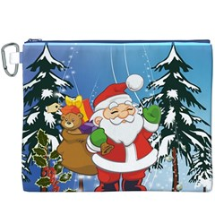Funny Santa Claus In The Forrest Canvas Cosmetic Bag (xxxl)