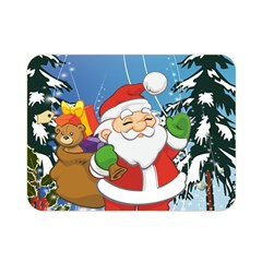 Funny Santa Claus In The Forrest Double Sided Flano Blanket (Mini)
