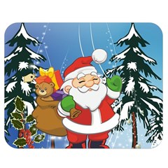 Funny Santa Claus In The Forrest Double Sided Flano Blanket (Medium)