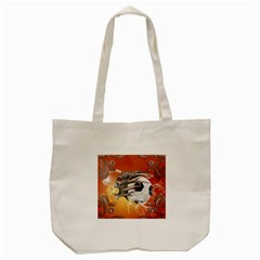 Soccer With Skull And Fire And Water Splash Tote Bag (cream)
