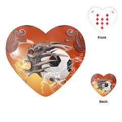 Soccer With Skull And Fire And Water Splash Playing Cards (Heart)