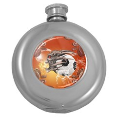 Soccer With Skull And Fire And Water Splash Round Hip Flask (5 oz)
