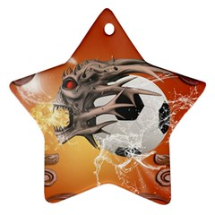Soccer With Skull And Fire And Water Splash Star Ornament (Two Sides)